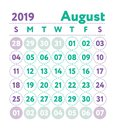 Calendar 2019. Vector English calender. August month. Week start Royalty Free Stock Photo