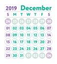 Calendar 2019. Vector English calender. December month. Week sta
