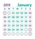 Calendar 2019. Vector English calender. January month. Week star