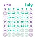 Calendar 2019. Vector English calender. July month. Week starts Royalty Free Stock Photo