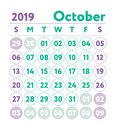 Calendar 2019. Vector English calender. October month. Week star