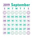 Calendar 2019. Vector English calender. September month. Week st Royalty Free Stock Photo