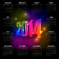 Calendar vector year with black background and vibrant neon numbers elements are layered separately in vector file Royalty Free Stock Photos