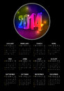 Calendar vector year with black background and vibrant neon numbers elements are layered separately in vector file Stock Photography