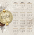 Calendar of with vintage labels design template and grunge elements Stock Image