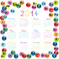 Calendar with vitamins and minerals for drugstores and hosp hospitals Royalty Free Stock Photo