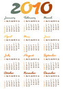Calendar for year 2010 Royalty Free Stock Images