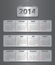 Calendar for year attached with metallic tablets vector illustration Royalty Free Stock Photos