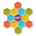 Calendar for 2017 Year on bright colorful hexagonal background. Week starts from sunday. Vector Design Print Template.