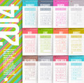 Calendar of year design template with stitched labels months Royalty Free Stock Photography
