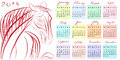 Calendar year of the horse hand drawn illustration with doodle text Stock Photo
