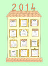 Calendar for the year a painted house with windows as drawn large different each month vector illustration Royalty Free Stock Images