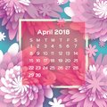 Calendar 2018 year. Pink April. Origami flower. Paper cut style. Week starts from sunday. Spring floral background Royalty Free Stock Photo