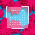 Calendar 2018 year. Pink Blue March. Origami flower. Paper cut style. Week starts from sunday. Winter floral background Royalty Free Stock Photo