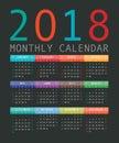 Calendar 2018 year simple style.