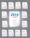 Calendar for year on sticky notes attached to the backgroun background with paper clips sundays first vector illustration Stock Photos