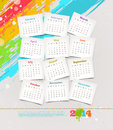 Calendar of years design template cardboards with on a grunge colorful painted background Stock Photos