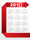Calendario 2013 con il origami rosso della freccia Immagini Stock Libere da Diritti