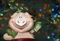 Calendario del este de 2007 cerdos Fotos de archivo