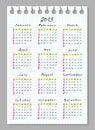Calendario per 2013. Fonte tipografica di lavoro manuale. Immagini Stock Libere da Diritti