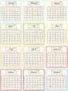 Calendario scritto a mano 2012 con gli elementi del grunge. Fotografia Stock Libera da Diritti