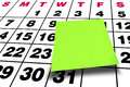 Calendario verde en blanco del post it del post it de la perspectiva Fotografía de archivo
