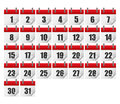 Calendars for all 31 days of a month. Calendar icons set.