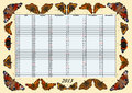 Calender 2013 July - December with Butterflies Royalty Free Stock Photos
