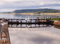 Calendonian canal in scotland clachnaharry sea lock on the near inverness uk Stock Photo