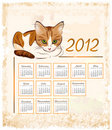 Calendrier 2012 avec le chat de tabby de gingembre Photos libres de droits