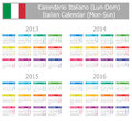 Calendrier 2013-2016 italien de type 1 Lundi-Sun Photo stock