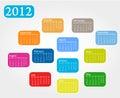 Calendrier coloré par 2012 Photo libre de droits