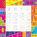 Calendário 2012 com frame colorido para miúdos Fotografia de Stock