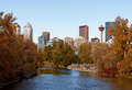 Calgary in autumn a view of the skyline of alberta on a beautiful day Royalty Free Stock Photos