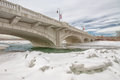 Calgary bridge across icy bow river the th street in crossing the Stock Image