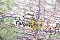 Calgary, Canada on map Royalty Free Stock Photo