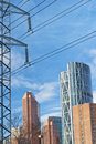 Calgary framed by power lines cityscape of high voltage Royalty Free Stock Photography