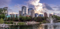 Calgary s skyline on a beautiful evening is the corporate centre of the oil industry in canada Royalty Free Stock Images