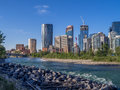 Calgary s skyline on a beautiful spring day is the corporate centre of the oil industry in canada Royalty Free Stock Images