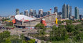 Calgary s skyline with the scotiabank saddledome in the foreground canada june june alberta is Royalty Free Stock Photos