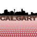 Calgary skyline dollar symbols reflected with illustration Stock Photos