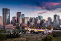 Calgary skyline view of the at dusk with large office towers Royalty Free Stock Images