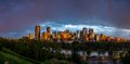Calgary skyline view of the at dusk with large office towers Royalty Free Stock Image