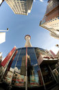Calgary tower at the base of the with a fish eye lenses Royalty Free Stock Photo