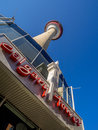 Calgary tower canada july external facade of the landmark on july in alberta the is s most Royalty Free Stock Photos