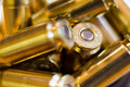 Caliber ammo ammunition in a pile Royalty Free Stock Image