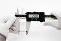 Calibration digital vernier with gage block caliper Stock Image