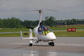 Calidus gyroplane on waterloo airshow ontario canada june auto gyro dealer in gives the demonstration flight in airport cykf Royalty Free Stock Photography