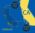 California 3D Vector map info graphic Stock Photo