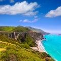 California Bixby bridge in Big Sur Monterey County in Route 1 Royalty Free Stock Photo